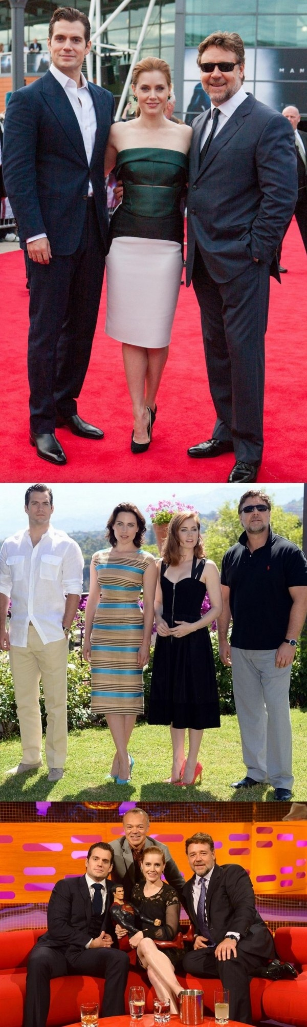 Fashion: Amy Adams, Henry Cavill, & Russell Crowe 'Man Of Steel' UK & Taormina Filmfest 2013 Tours - http://www.becauseiamfabulous.com/2013/06/fashion-amy-adams-henry-cavill-russell-crowe-man-of-steel-uk-taormina-filmfest-2013-tours/