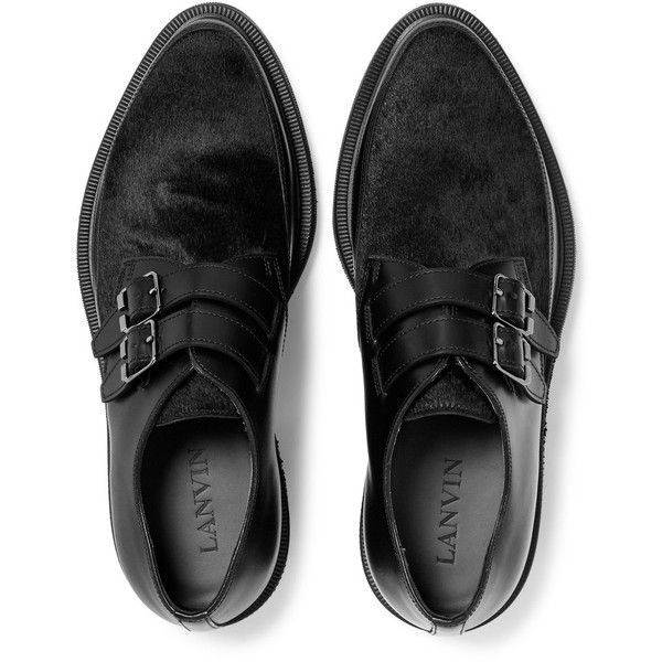 Lanvin Buckled Calf Hair-Panelled Leather Derby Shoes (72.385 RUB) ❤ liked on Polyvore featuring men's fashion, men's shoes, men's oxfords, mens pony hair shoes, mens creeper shoes, mens leather shoes, mens buckle shoes and mens derby shoes