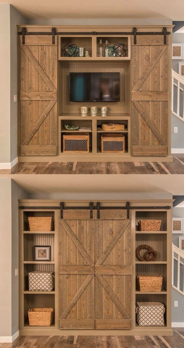 Love the doors and lots of shelving