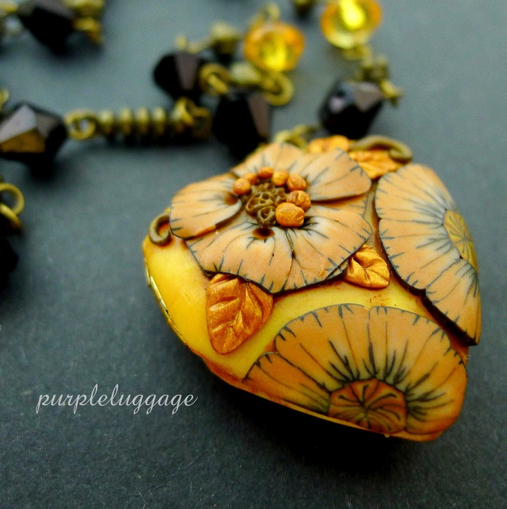 Jennifer Cruz - Phillipines  Purpleluggage  Buttermellow - Yellow and Caramel Victorian-inspired Floral Locket. $33.75, via Etsy.