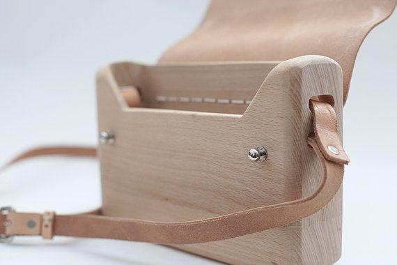 Legno borsa in pelle / Messenger Bag di legno / legno di di ionnoi
