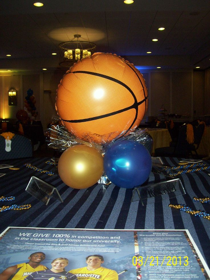 Easy basketball themed centerpiece - great for March Madness!