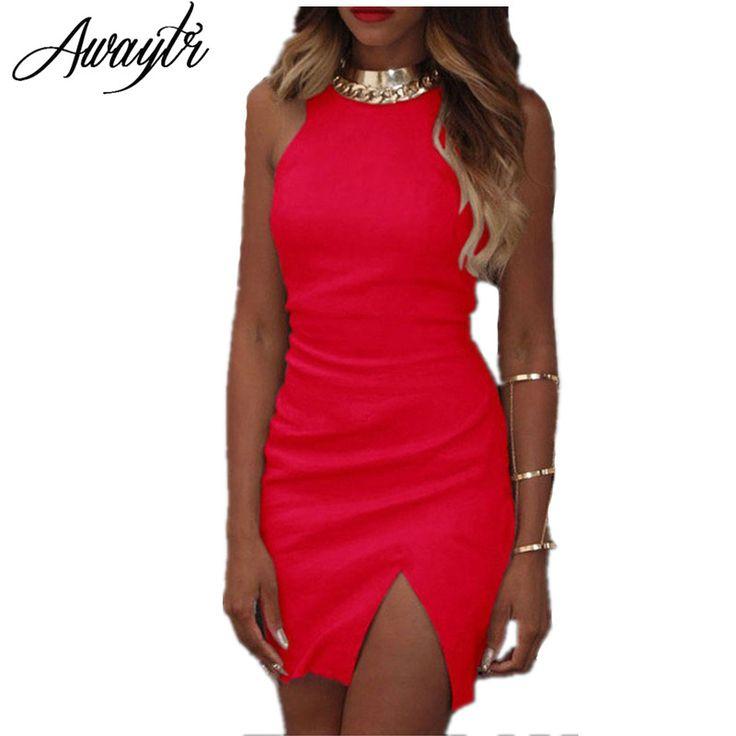 Awaytr 2016 Evening Vestidos de Festa Verão Mulheres Sexy Divisão Magro Pacote Hip Vestido Vermelho Curto Sarafan Vestido Das Mulheres Quentes de Verão em Vestidos de Das mulheres Roupas & Acessórios no AliExpress.com | Alibaba Group