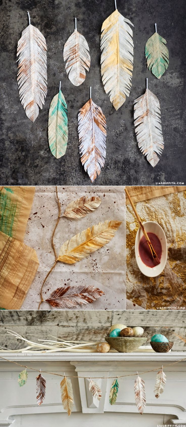 Painted #TissuePaper Feathers at http://www.LiaGriffith.com