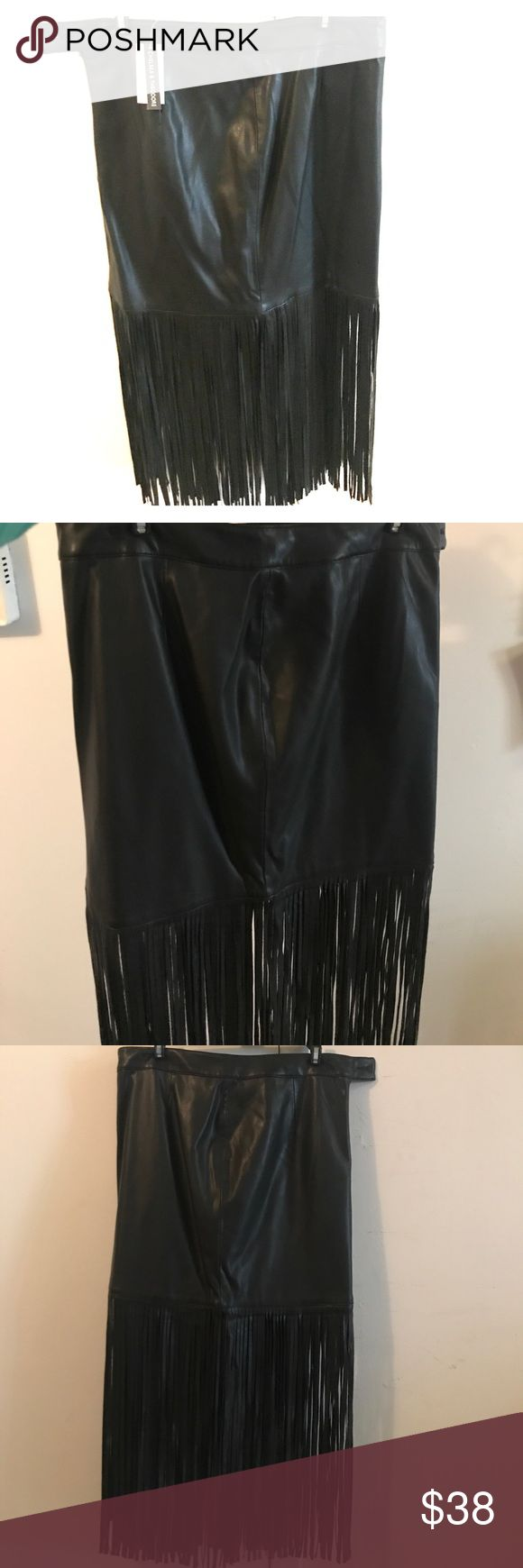 """🕶 Leatherette Fringe Skirt NWT 🕶 Resembles real leather, great quality! Brand new leather skirt with fringe bottom. Skirt length is 15"""" Fringe adds another 16""""   Dress up or down! Waist 30"""" Bloomingdale's Skirts"""