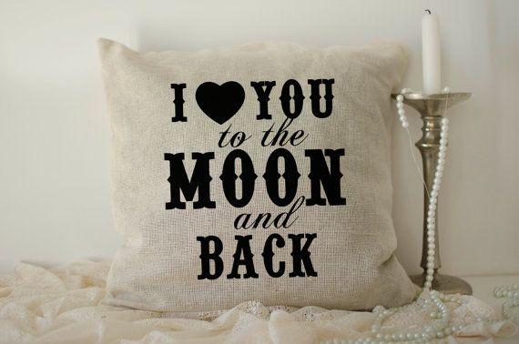 Ik hou van je naar de maan en rug kussens 40 x 40 dag Valentijnsdag geschenk sinds teken Dhr en mevrouw jute kussen cover bruidegom bruid kussenslopen geschenken