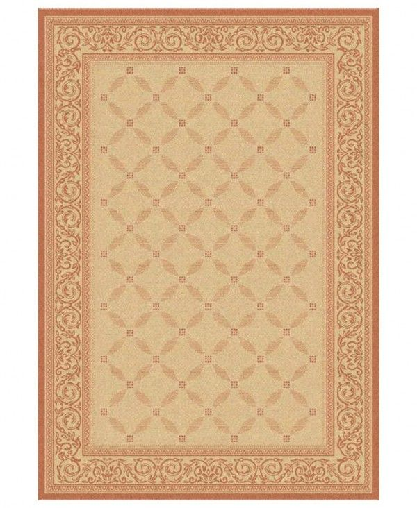 73% Off - MANUFACTURER'S CLOSEOUT! Safavieh Area Rug, Courtyard Indoor/Outdoor CY1502-3201 Natural/Terracotta 4' X 5' 7