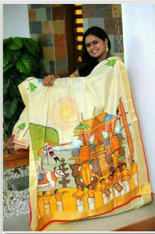 Kerala kasavu with mural indian sarees pinterest for Aithihya mural painting fabrics