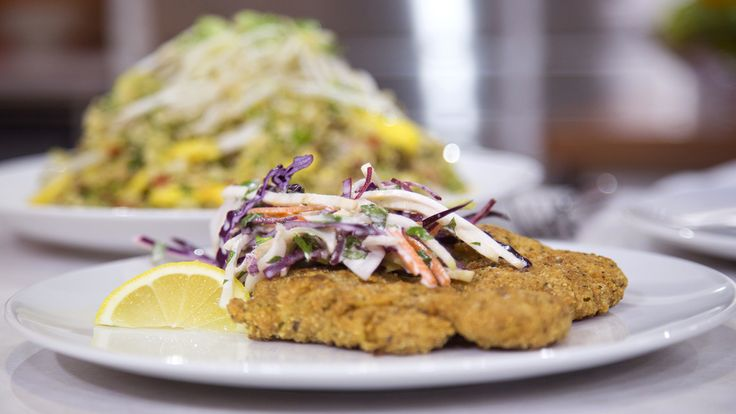 """Dinner under $20! from """"The Paleo Chef"""": Chicken schnitzel, root vegetable slaw and cauliflower fried rice with chicken."""