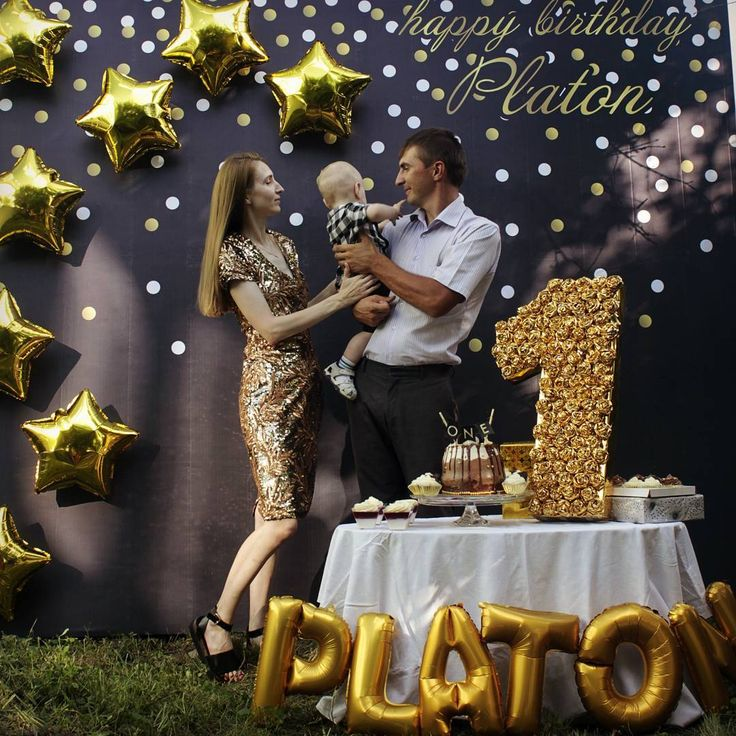 Black and gold first birthday party