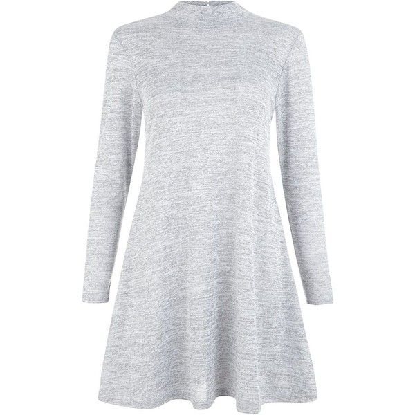 Petite Grey Fine Knit Turtle Neck Swing Dress ($21) ❤ liked on Polyvore featuring dresses, petite, long sleeve mini dress, grey long sleeve dress, turtleneck top, petite dresses and trapeze dress