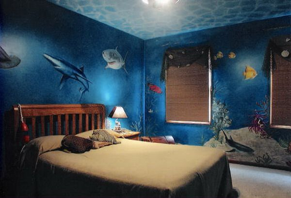 Shark Mermaid Room Underwater Wall Murals Bedroom Design