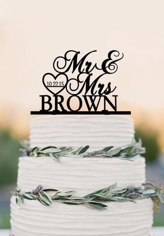 Benutzerdefinierte Herr Frau Hochzeitstorte Topper, personalisierte Topper, Acryl Hochzeit Dekorati …   – Wedding dresses lace