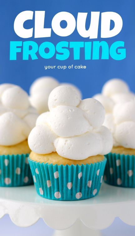 Cloud Cupcakes, this fluffy whipped cream frosting is amazing!