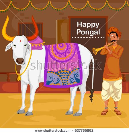 Happy Pongal Celebration With Farmer Playing Flute Cow In Vector