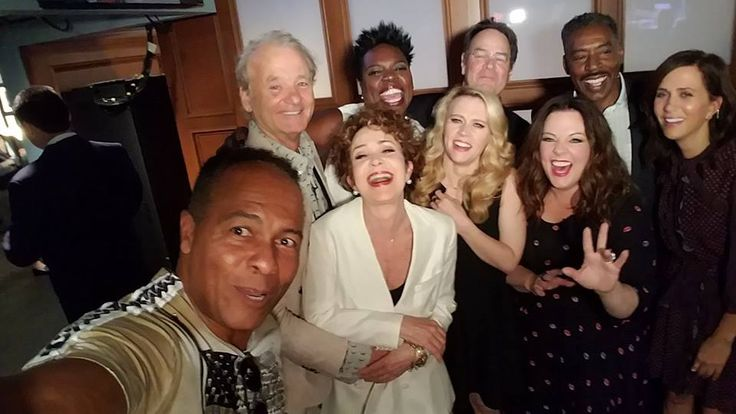 New and Old Ghostbusters cast together