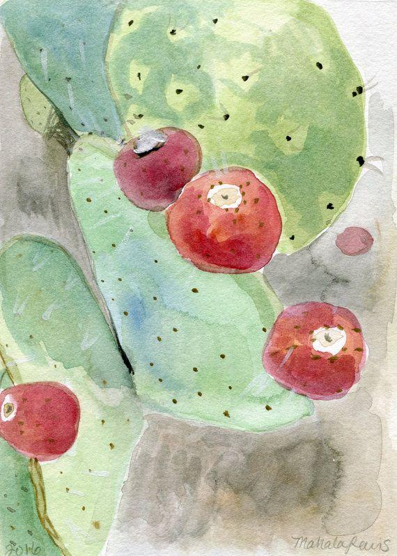 STAMPA stampa di frutta-A4 pittura-Prickly Pear Cactus dell