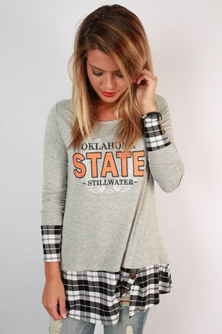 Oklahoma State University Plaid Tunic