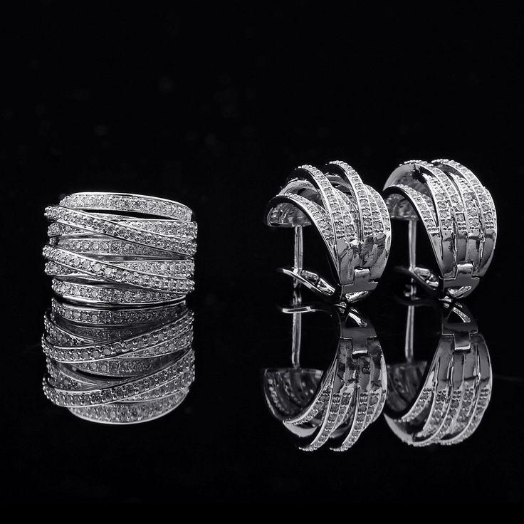 2015 AAA CZ Zircon Earrings Ring Set Copper Jewelry Sets Prong Setting Shining Crystal Wedding Rings Anel Love Pendientes Joias www.bernysjewels.com #bernysjewels #jewels #jewelry #nice #bags