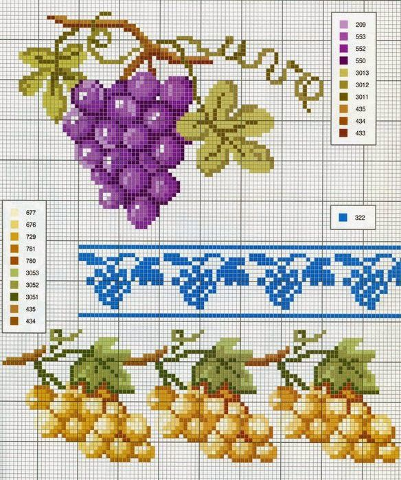 Χειροτεχνήματα: Σταφύλια για κέντημα / Grapes cross stitch patterns
