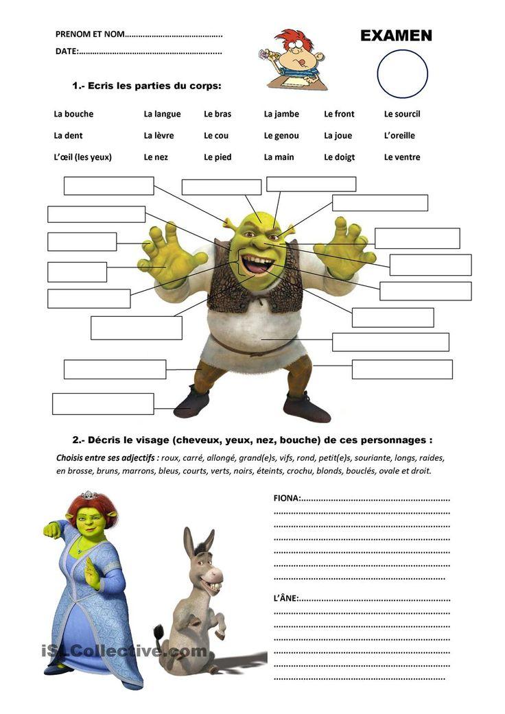 Examen: parties du corps/description du visage | GRATUIT FLE fiches pédagogiques