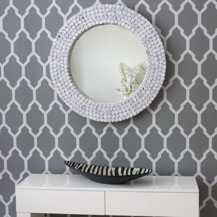 White Round Recycled Mirror