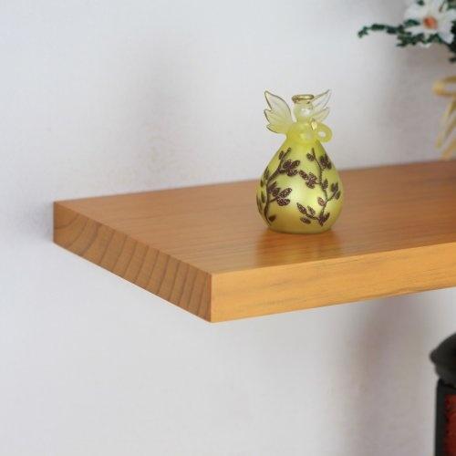 ElleHome Rocky Solid Wood Floating Wall Shelf, 36 L X 8 W X 1 1/8 H Inch, Honey Oak $48.00