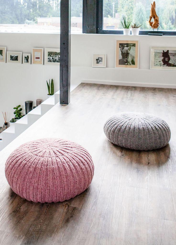 Wohnidee Stricken Stricken Für Die Wohnung Boden Pouf Lana Grossa