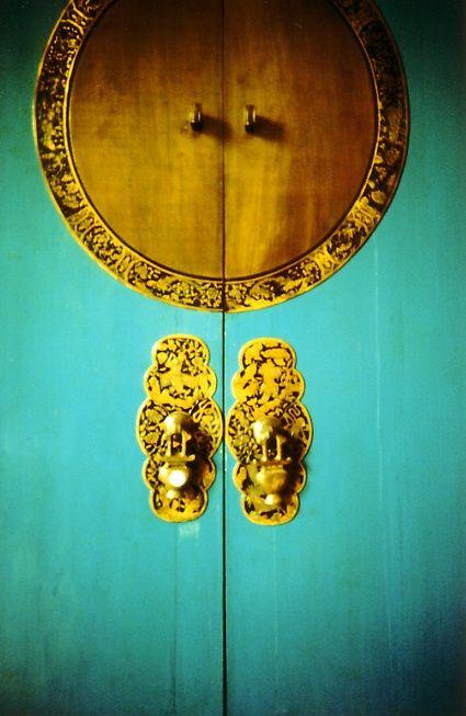 turquoise and yellow door