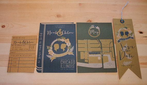 Library book wedding invitation set by yesdearstudio on Etsy, $5.00