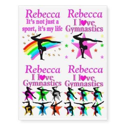 PRETTY PINK PERSONALIZED GYMNASTICS TATTOOS - girl gifts special unique diy gift idea