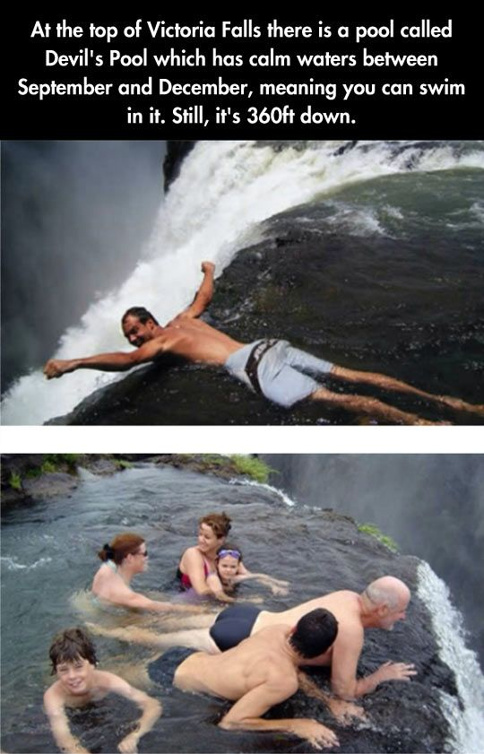 """Devil's Pool at the top of Victoria Falls, on my """"If only I had enough money to travel as much as I want to""""list."""
