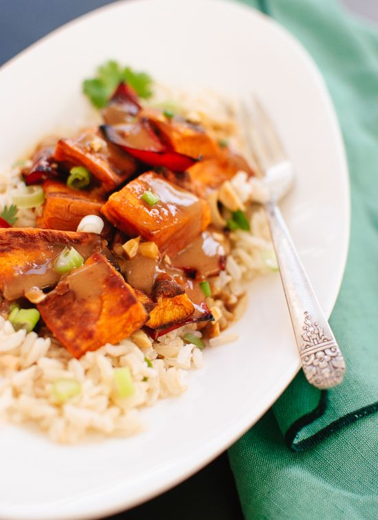 Spicy Thai Peanut Sauce over Roasted Sweet Potatoes and Rice - Cookie and Kate