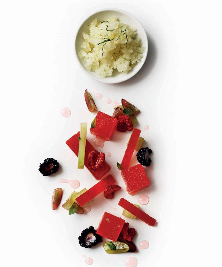 Melon granita with watermelon jelly and fruit from Atul Kochhar's new cookbook Benares.