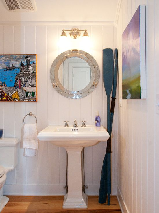 Love This Polished Nickle Porthole Mirror Provincetown Beach House   Beach  Style   Bathroom   Boston   Mary Prince