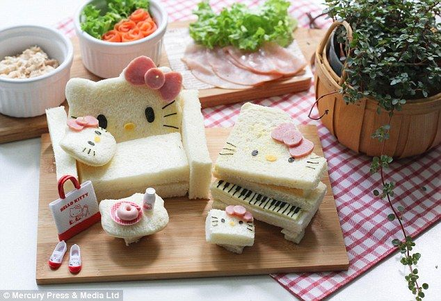 Stop playing with your food! Mother-of-two creates astonishing cartoon artwork from her sons' packed lunches, including Hello Kitty sandwiches and Peppa Pig spaghetti   This Hello Kitty decoration is tasty as well as nutritious