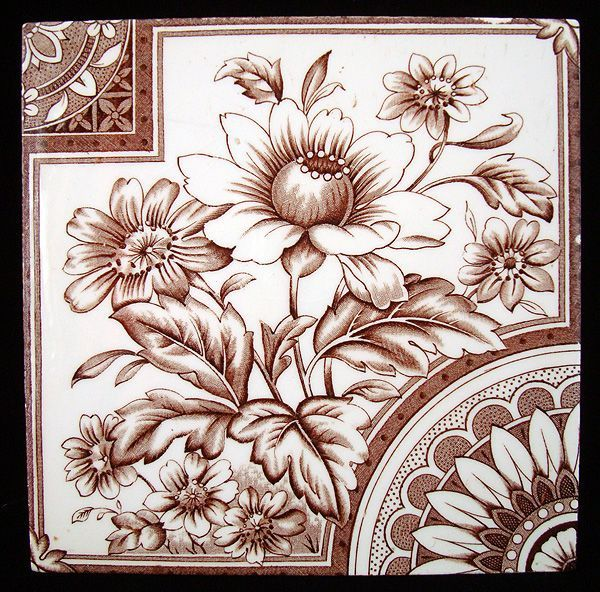 Aesthetic Movement Tile ~ Mexican Sunflowers 1885   http://www.rubylane.com/item/441414-AMT1750/Aesthetic-Movement-Tile-Mex78ican-Sunflowers