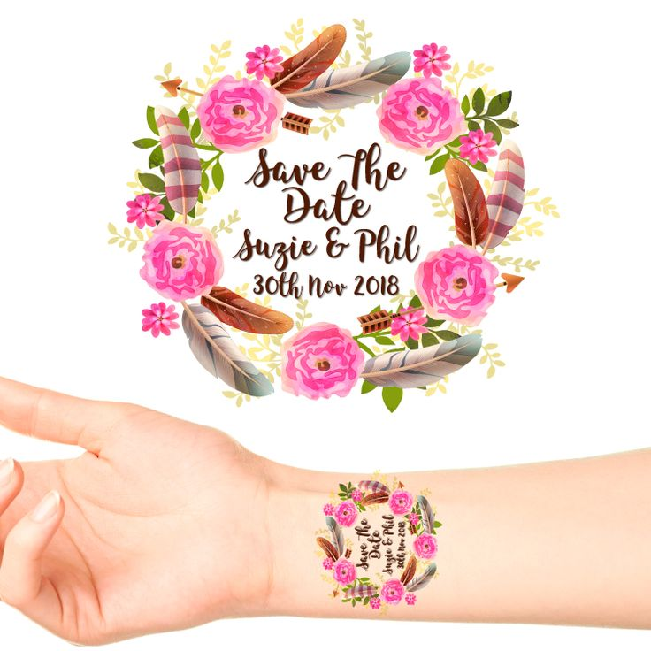 Personalised Save The Date Temporary Tattoo #4 (15 pack) Put one of these on each of your guests at your Engagement Party as a Save The Date for your wedding!  Type the date of your wedding in...