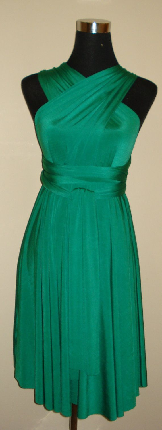 Emerald green knee length infinity dress by stitchawayrose on Etsy