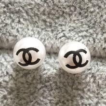Mode européenne Simple 8 mm lettre C perles boucles d'oreilles pour les femmes lady filles marque gros pas cher de haute qualité(China (Mainland))