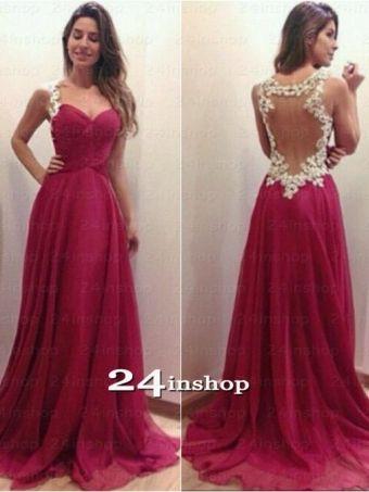 Amazing Red Chiffon Long Prom Dresses, Evening Dresses, Formal Dress