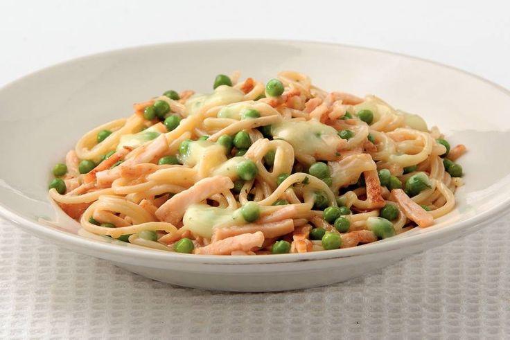 Spaghetti met gerookte kip-kaassaus