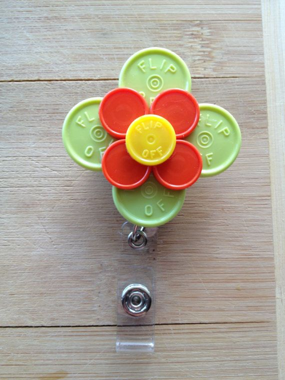 Large Flower ID Badge Holder With Retractable Reel - Made From Flip Off Vial Caps (orange, yellow, green, black)