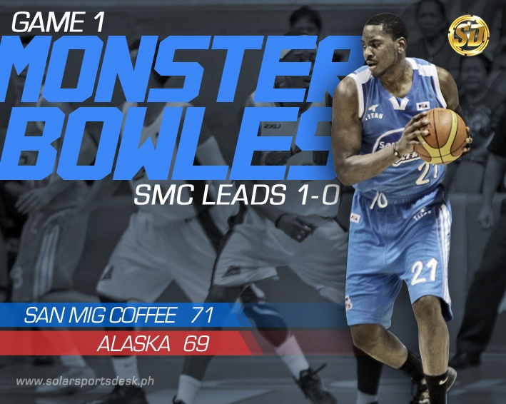 Monster Bowles wins it! San Mig Coffee Mixers takes a 1-0 series lead over the Alaska Aces, 71 - 69. #PBA | www.solarsportsdesk.ph