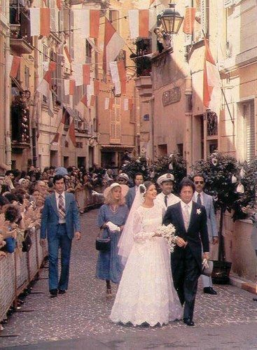 Princess Caroline of Monaco and first husband, Philippe Junot, after their wedding on June 29, 1978. She was 21 and he was 38. The marriage only lasted two years.
