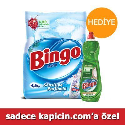 Bingo Matik Konsantre Toz Çamaşır Deterjanı Sensitive Parfümlü 4,5 Kg  Bingo Matik Sensitive Parfümlü Çamaşır deterjanı annelerin yıllardır güvenle ve severek kullandığı Bingo Soft sensitive çamaşır deterjanı ile efsane bebek kokusu şimdi Nar Lekesinde bile etkili, Bingo Matik Sensitive güçlü formülüyle yeni ambalajında!