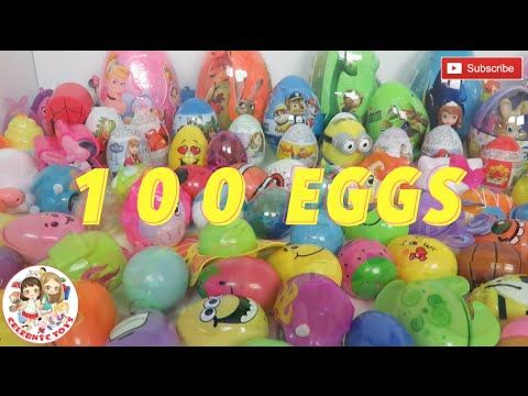 100 SURPRISE EGGS Easter Kinder Minnie Nemo Shopkins Disney Princess Unboxing by Celebnyc Toys YouTube
