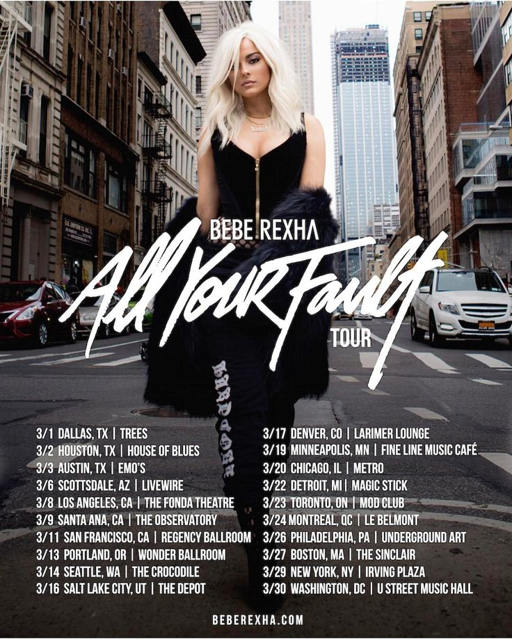 It's official. I'm so excited to bring you the #AllYourFaultTour in March. VIP packages tomorrow, presales Thursday, and general sales Friday! Dates and ticket links up at beberexha.com