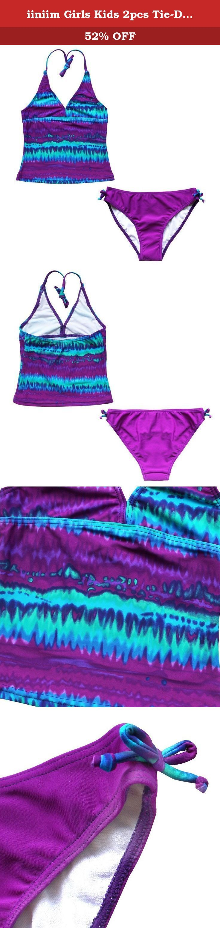 "iiniim Girls Kids 2pcs Tie-Dye Halter Tankini Top Swimsuits Bathing Suits Purple 12. Set Include: 1pc top, 1pc bottom Condition: New with tags Material: 80% Polyamide, 20% Elasthanne Color: (As pictures shown) Recommended Size: 8: Chest 21.0""-25.0""/53-63cm, Top Length 14.0""/36cm, Bottom Waist 23.0""-27.5""/58-70cm, Bottom Length 7.5""/19cm 10: Chest 23.0""-27.0""/58-68cm, Top Length 15.5""/40cm, Bottom Waist 24.5""-28.5""/62-72cm, Bottom Length 8.0""/20cm 12: Chest 24.5""-28.5""/62-72cm, Top Length..."