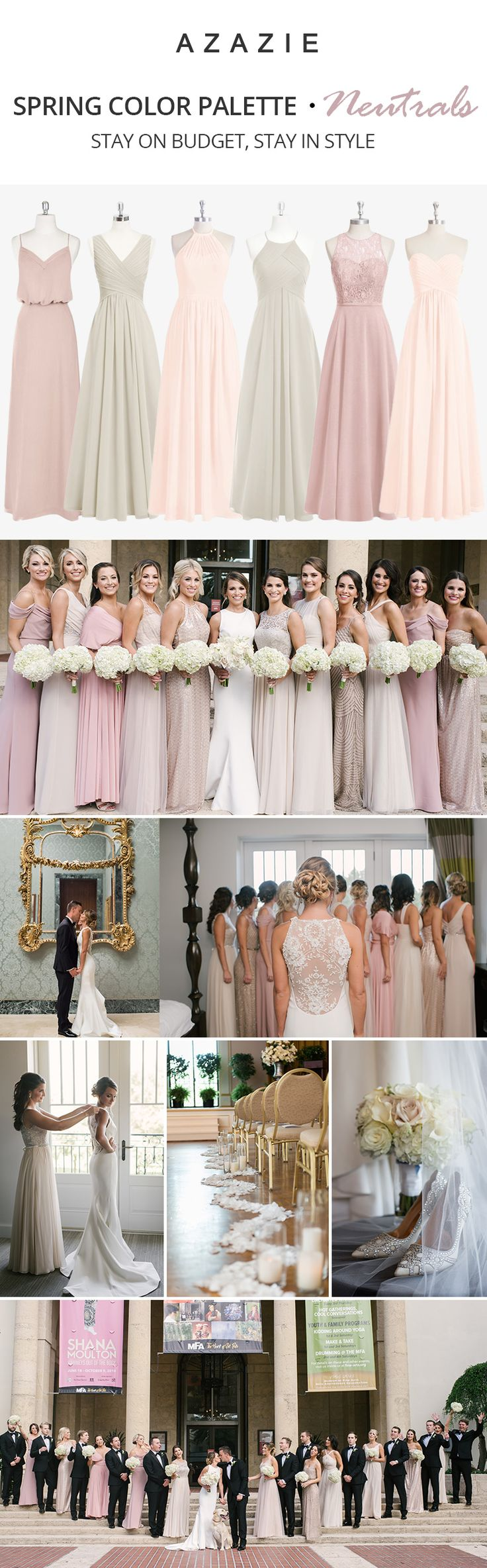 Neutrals never go out of style! Check out our 200+ styles in gorgeous neutral colors, perfect for any time of the year! Wedding tip: Order color swatches before you purchase your dresses for stress free wedding planning! | Photos courtesy of kaitlynphippsphotography.com